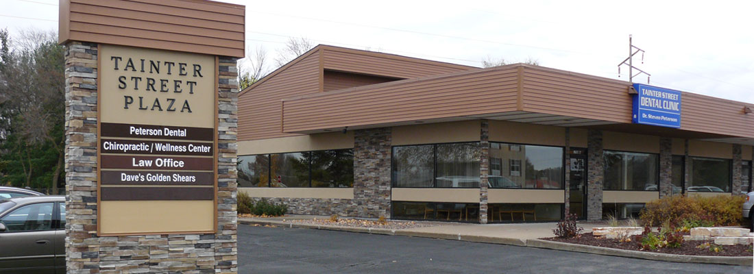 Dr. Steven Peterson and Tainter Street Dental Clinic are easy to locate:  in North Menomonie two blocks east of North Broadway on the corner of Cedar Avenue and Tainter Street in the Tainter Street Plaza.